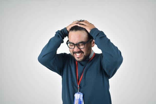 Stressed presenter.