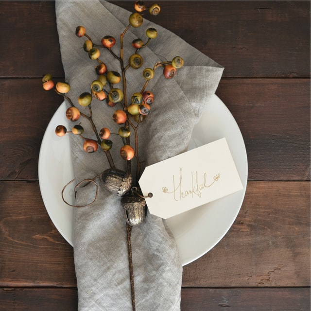A placeholder at the Thanksgiving table expressing appreciation for those present.