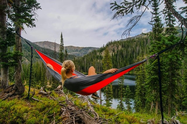 Enjoying a hammock in the mountains.