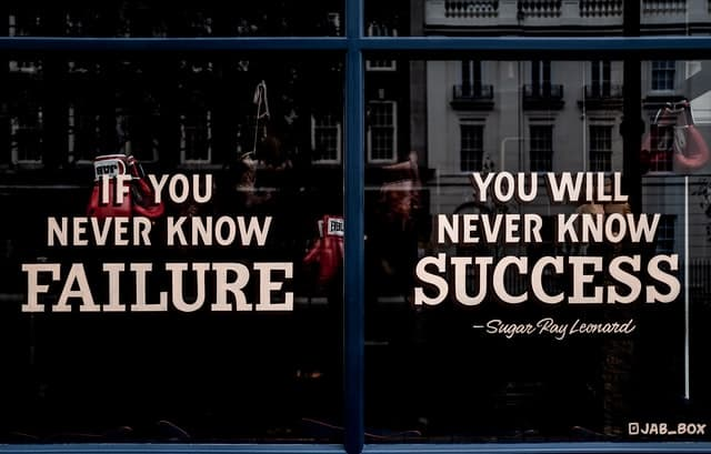 Window sign about need for failure.