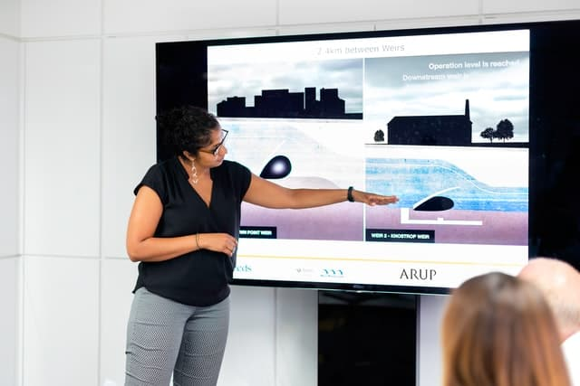 Person delivering presentation.